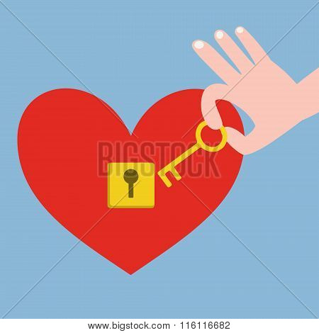 Hand Holding Key And Red Heart With Keyhole
