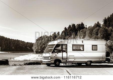 Touristic Caravan Staying Near The  Lake
