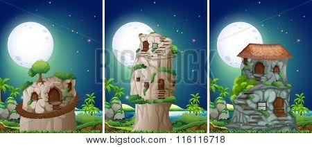 Three scenes of stonehouse at night illustration
