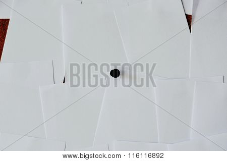 paper stick on wooden notice board