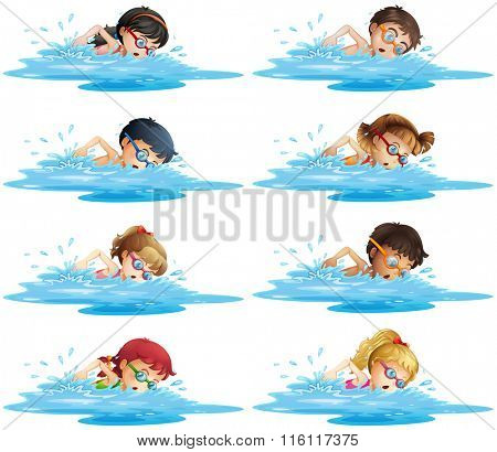 Many children swimming in the pool illustration