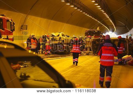 CZECH REPUBLIC, PLZEN, 30 SEPTEMBER, 2015:Rescue team working on a car crash