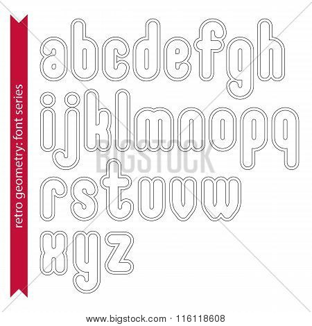 Double Delicate Line Retro Characters Set, Vector Light Lowercase Letters With Stripes Isolated On W