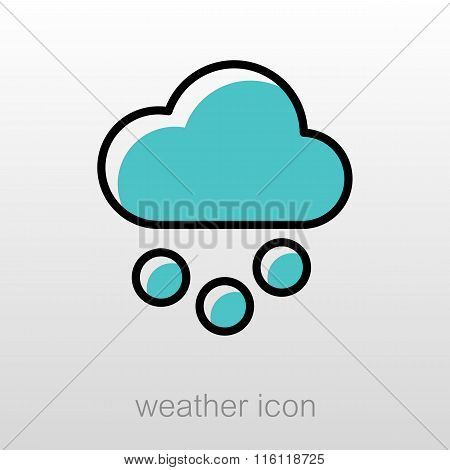 Cloud With Snow Grain Icon. Meteorology. Weather