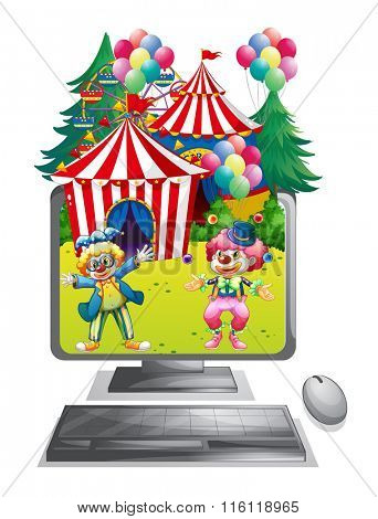 Computer screen with clowns at the circus illustration