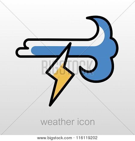 Wind Lightning Icon. Meteorology. Weather