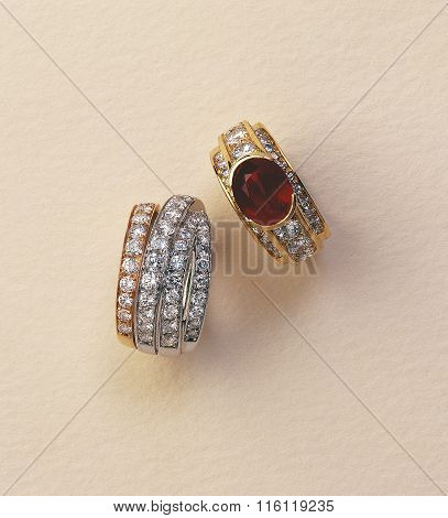 Ruby And Diamond Ring On Ocre Background