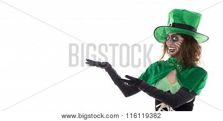 Leprechaun Girl Showing On Copyspace, Isolated On White