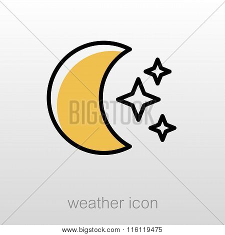 Moon And Stars Icon. Meteorology. Weather