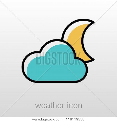 Cloud Moon Icon. Meteorology. Weather