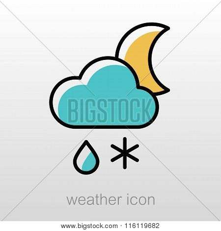 Cloud Snow Rain Moon Icon. Weather