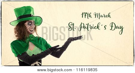 Irish Leprechaun Girl Showing On Text For St. Patrick´s Day, Vintage Filtered