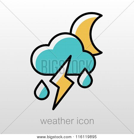 Moon Cloud Rain Lightning Icon. Weather