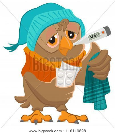 Patient owl holding thermometer and pills