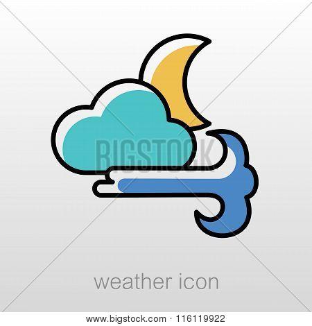 Moon Cloud Blows Wind Icon. Meteorology. Weather