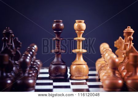 Chess Figures On A Chess Board, Symmetrically Set