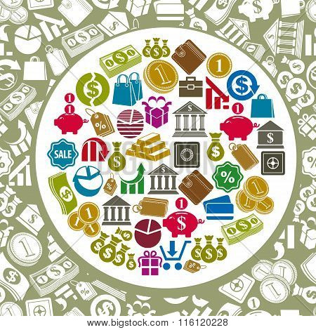 Money icons vector set, finance theme simplistic symbols vector background