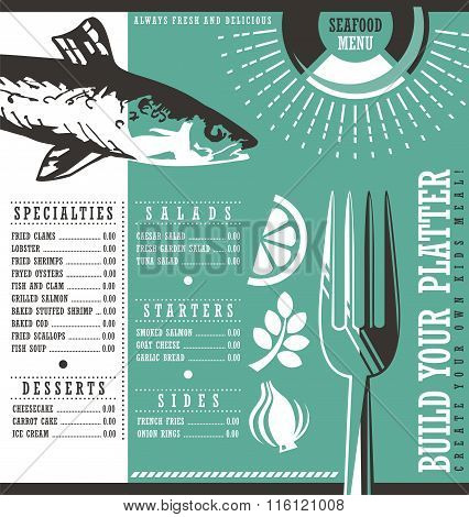 Seafood restaurant menu vector design