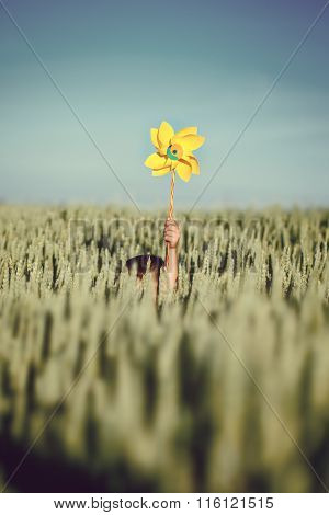 Child Hands Holding Yellow Pinwheel Against Blue Sky And Green Field