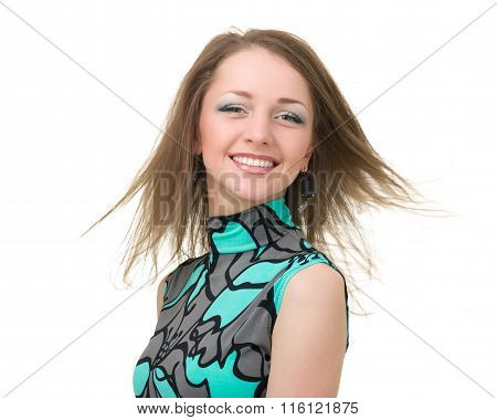 portrait of attractive caucasian smiling woman isolated on white with copyspace