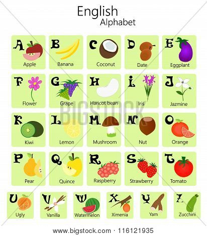 English alphabet with fruits and vegetables.