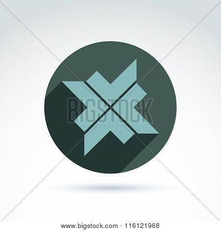 Vector Bronze Geometric Abstract Emblem Placed In A Circle. Corporate Element Created From Checkmark