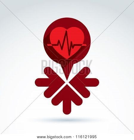 Vector Charity And Donation Symbol, Illustration Of A Red Heart With Arrows.