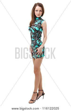 Portrait of a Sexy Blonde Woman in Little Fashion Dress