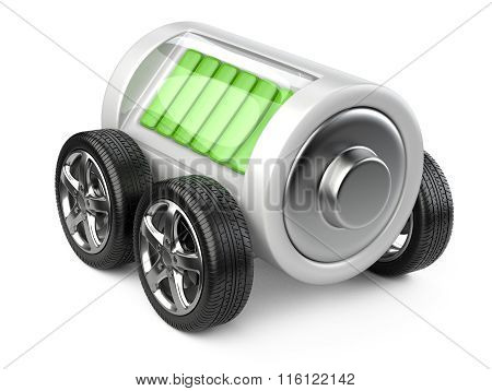 Battery  On Wheels With Charge Level.