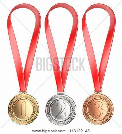 Three Winning Places Concept. Medals With Ribbon