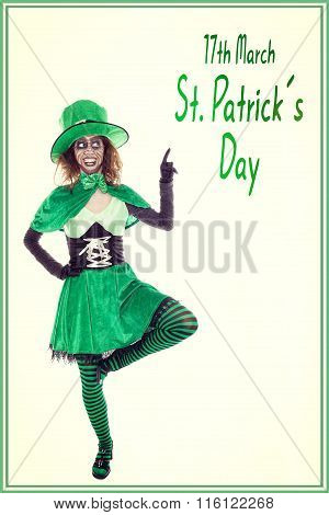 Funny Green Leprechaun Showing On Text 17Th March St. Patrick´s Day