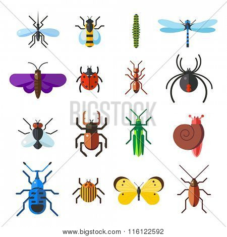 Insect icon flat set isolated on white background. Insects flat icons vector illustration. Nature flying insects isolated icons. Ladybird, butterfly, beetle vector ant. Vector insects