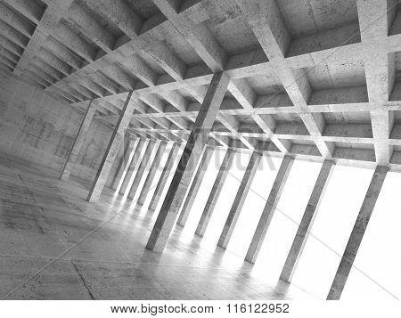 Empty Concrete Room With Columns, 3D Illustration