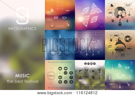 music infographic with unfocused background
