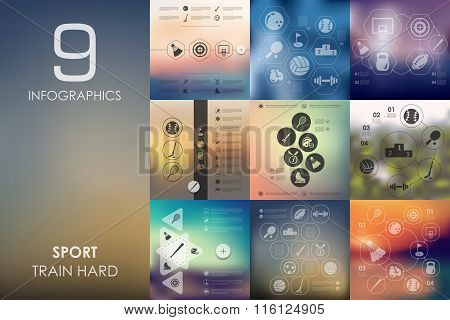 sport infographic with unfocused background