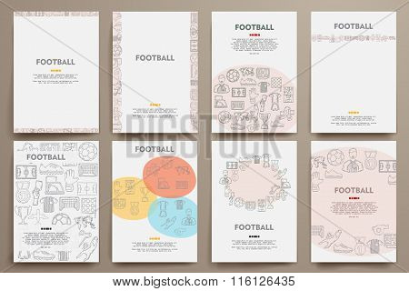 Corporate identity vector templates set with doodles football theme