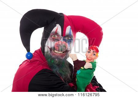 Funny Madly Clown With A Punch, Isolated On White