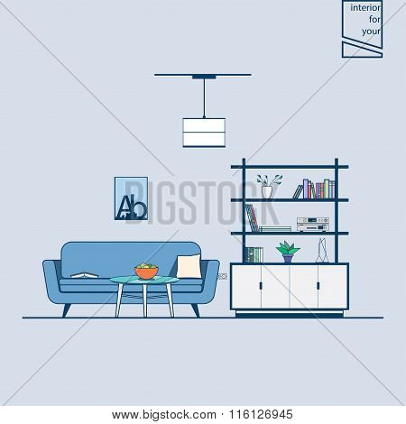 modern line style living room