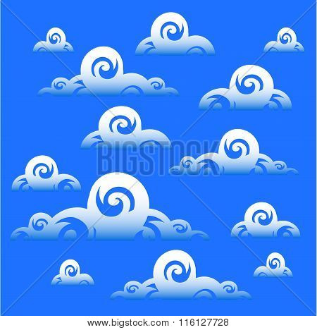Blue Sky With Clouds Background. eps