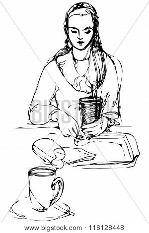 Vector Sketch Beautiful Girl Drinking At A Table In A Cafe