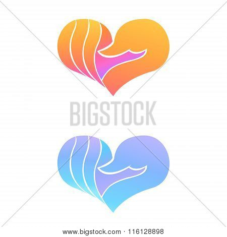 Set Of Swan Logo Design Template. Swan In Heart Shape.