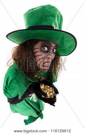 Evil Leprechaun Girl Holding A Treasure, Concept Legends And Ireland
