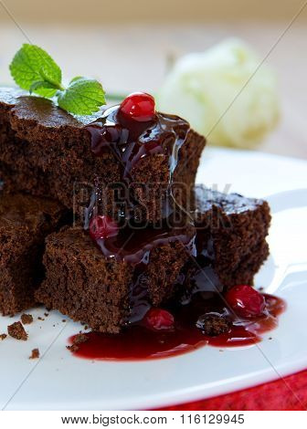 Beautiful chocolate cake with fresh berry .
