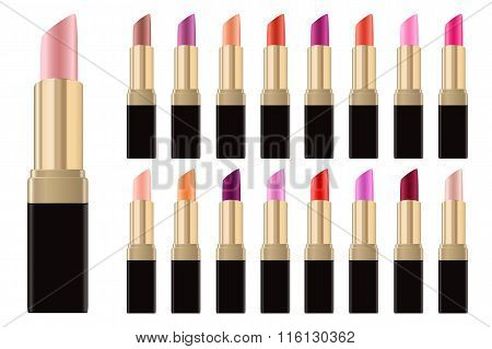 Lipstick Palette Lip Gloss Set Realistic Golden Tubes