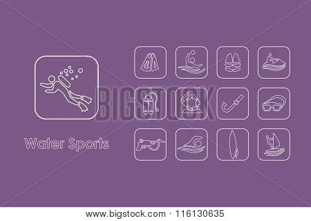 Set of water sports simple icons