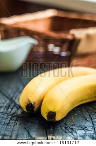 Bananas On The Balck Wood