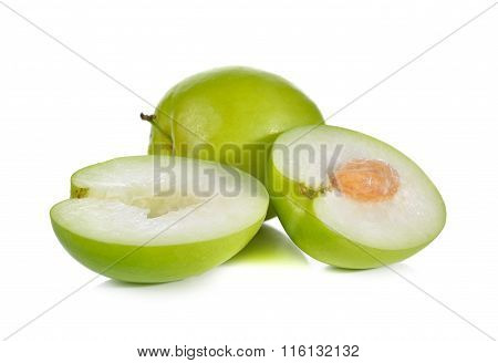 Whole And Half Cut Fresh Jujube On White Background