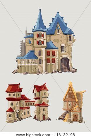 Medieval castles and buildings vector set in cartoon style