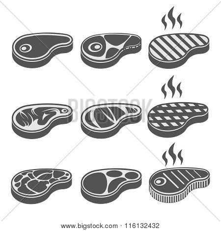 Beef meat steak vector icons set
