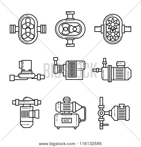 Water pump vector line icons sets